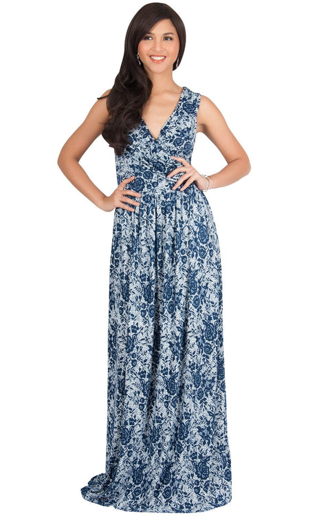 LUCIA - Sleeveless V-Neck Floral Print Summer Maxi Gown - Navy Blue & White / Small