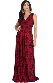 LUCIA - Sleeveless V-Neck Floral Print Summer Maxi Gown - Red & Black / Small