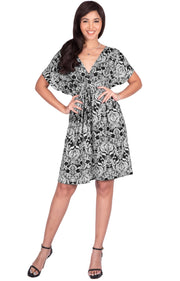 LUNA - Short Sleeve Bohemian Printed Summer Beach Party Mini Dress - Black & White / Medium