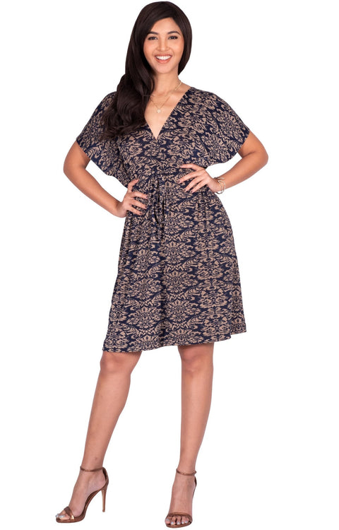 LUNA - Short Sleeve Boho Sexy Printed Summer Beach Party Mini Dress - Beige & Navy Blue / Medium