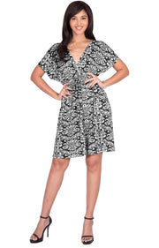 LUNA - Short Sleeve Boho Sexy Printed Summer Beach Party Mini Dress - Black & White / Medium
