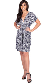 LUNA - Short Sleeve Boho Sexy Printed Summer Beach Party Mini Dress - Navy Blue & White / Medium
