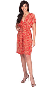 LUNA - Short Sleeve Boho Sexy Printed Summer Beach Party Mini Dress - Red & Beige / Medium