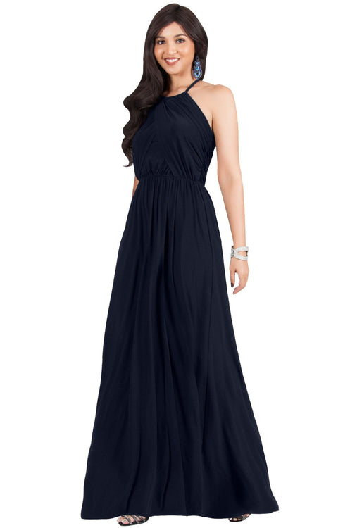 LYLAH - Bridesmaid Cocktail Long Sleeveless Halter Sun Maxi Dress Gown
