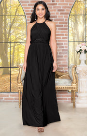 LYLAH - Bridesmaid Cocktail Long Sleeveless Halter Sun Maxi Dress Gown - Black / 2X Large