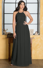 LYLAH - Bridesmaid Cocktail Long Sleeveless Halter Sun Maxi Dress Gown - Dark Gray Grey / 2X Large