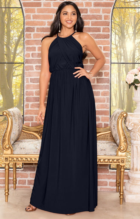 LYLAH - Bridesmaid Cocktail Long Sleeveless Halter Sun Maxi Dress Gown - Dark Navy Blue / 2X Large