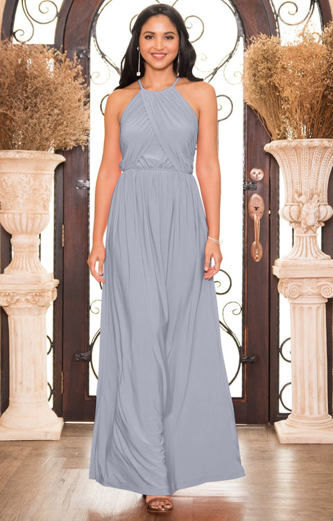 LYLAH - Bridesmaid Cocktail Long Sleeveless Halter Sun Maxi Dress Gown - Gray Grey / Small