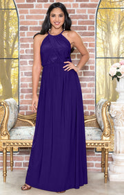 LYLAH - Bridesmaid Cocktail Long Sleeveless Halter Sun Maxi Dress Gown - Indigo Blue Purple / 2X Large