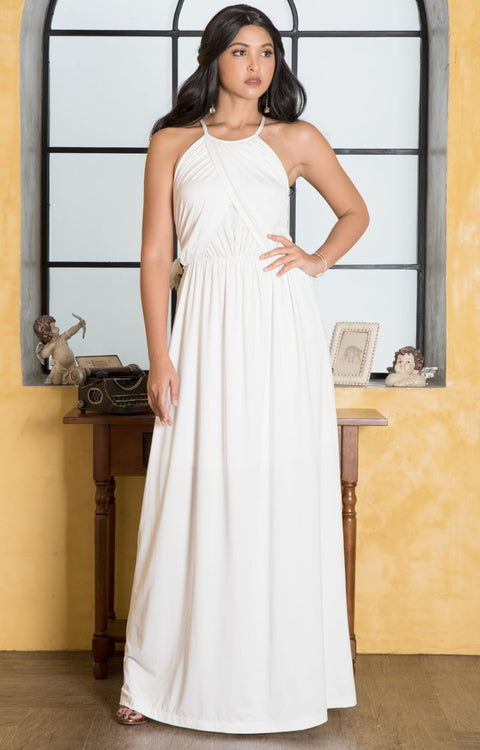 LYLAH - Bridesmaid Cocktail Long Sleeveless Halter Sun Maxi Dress Gown - Ivory White / 2X Large