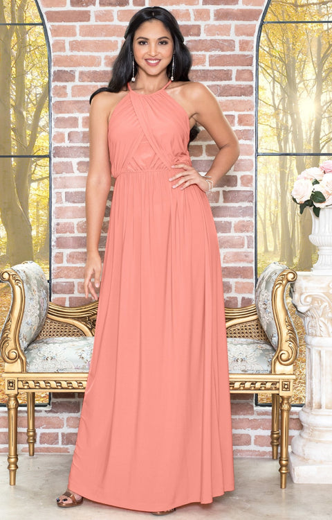 LYLAH - Bridesmaid Cocktail Long Sleeveless Halter Sun Maxi Dress Gown - Light Pink Peach / 2X Large