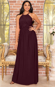 LYLAH - Bridesmaid Cocktail Long Sleeveless Halter Sun Maxi Dress Gown - Maroon Wine Red / 2X Large