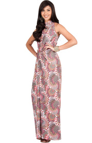 MAGNOLIA - Sleeveless Summer Print Halter Maxi Dress
