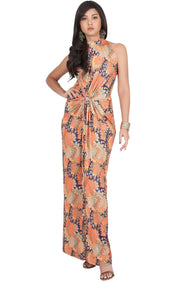 MAGNOLIA - Sleeveless Summer Print Halter Maxi Dress - Orange & Navy Blue / 2X Large