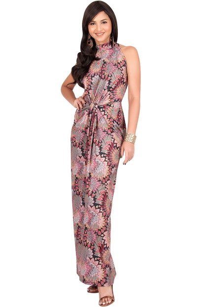 MAGNOLIA - Sleeveless Summer Print Halter Maxi Dress - Pink & Black / 2X Large