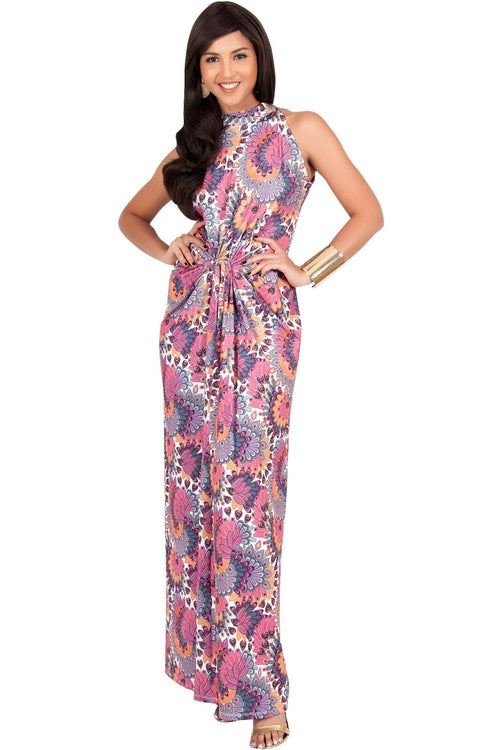 MAGNOLIA - Sleeveless Summer Print Halter Maxi Dress - Pink & Purple / 2X Large
