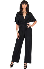 MARISOL - Convertible Wrap Jumpsuit Romper Cocktail Sexy Party Evening - Black / 2X Large