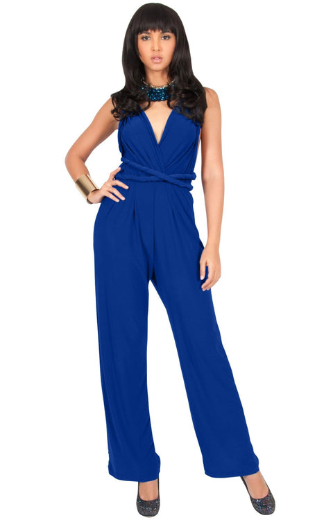 MARISOL - Convertible Wrap Jumpsuit Romper Cocktail Sexy Party Evening - Cobalt Royal Blue / Small