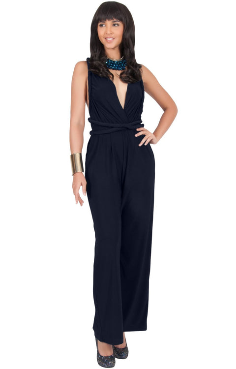 MARISOL - Convertible Wrap Jumpsuit Romper Cocktail Sexy Party Evening - Dark Navy Blue / 2X Large