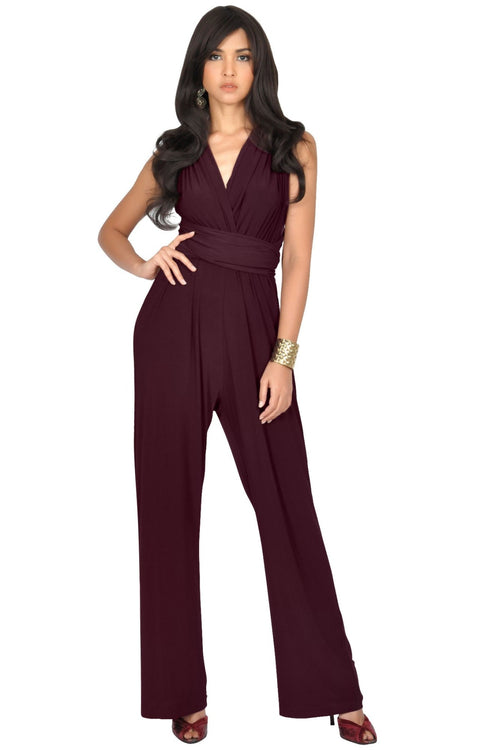 MARISOL - Convertible Wrap Jumpsuit Romper Cocktail Sexy Party Evening - Maroon Wine Red / 2X Large