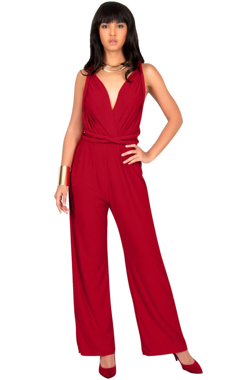 MARISOL - Convertible Wrap Jumpsuit Romper Cocktail Sexy Party Evening - Red / 2X Large