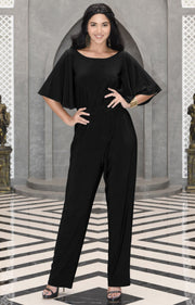 MARTHA - Stretchy Dressy Batwing Short Sleeve Jumpsuit Romper Pantsuit - Black / 2X Large