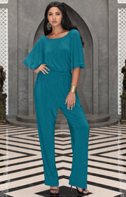 MARTHA - Stretchy Dressy Batwing Short Sleeve Jumpsuit Romper Pantsuit - Blue Green Jade / Small