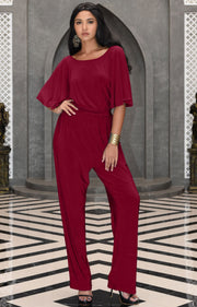 MARTHA - Stretchy Dressy Batwing Short Sleeve Jumpsuit Romper Pantsuit - Crimson Dark Red / 2X Large