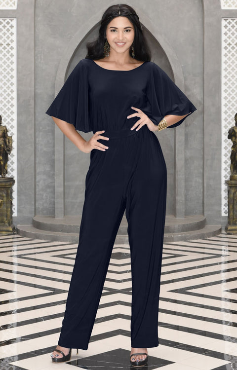 MARTHA - Stretchy Dressy Batwing Short Sleeve Jumpsuit Romper Pantsuit - Dark Navy Blue / 2X Large