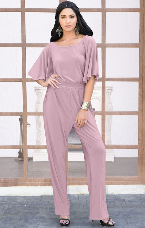 MARTHA - Stretchy Dressy Batwing Short Sleeve Jumpsuit Romper Pantsuit - Dusty Pink / 2X Large
