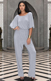 MARTHA - Stretchy Dressy Batwing Short Sleeve Jumpsuit Romper Pantsuit - Gray Grey / Small
