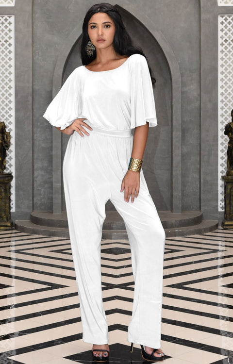 MARTHA - Stretchy Dressy Batwing Short Sleeve Jumpsuit Romper Pantsuit - Ivory White / 2X Large