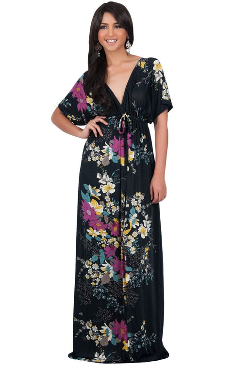 MARY - Flower Ladies Maxi Dress Gown Kaftan Sexy Sundress Caftan - Black / 2X Large