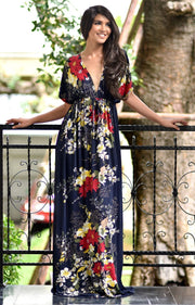 MARY - Flower Ladies Maxi Dress Gown Kaftan Sexy Sundress Caftan - Dark Navy Blue / 2X Large