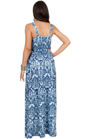 MAURA - Sleeveless Printed Summer Sun Maxi Dress
