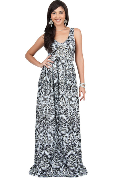 MAURA - Sleeveless Printed Summer Sun Maxi Dress - Black & Gold / Medium