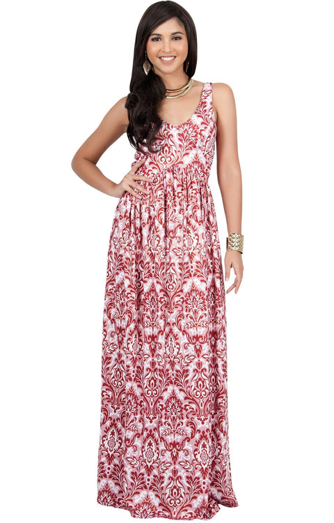 MAURA - Sleeveless Printed Summer Sun Maxi Dress - Dark Red & Gold / Medium