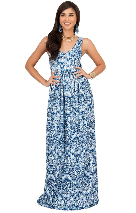 MAURA - Sleeveless Printed Summer Sun Maxi Dress - Navy Blue & Gold / Medium