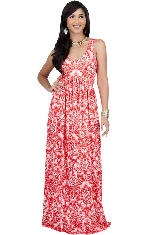 MAURA - Sleeveless Printed Summer Sun Maxi Dress - Red & Gold / Medium