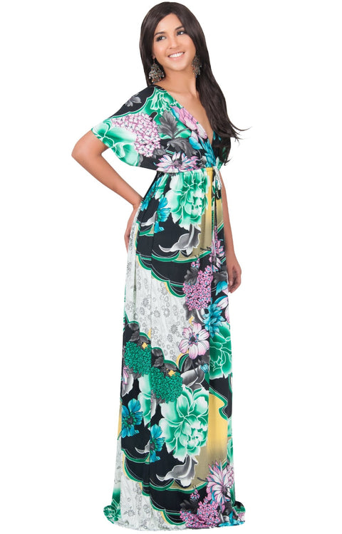 MIA - Hawaiian Luau Party Tropical Kimono Sleeve Maxi Dress