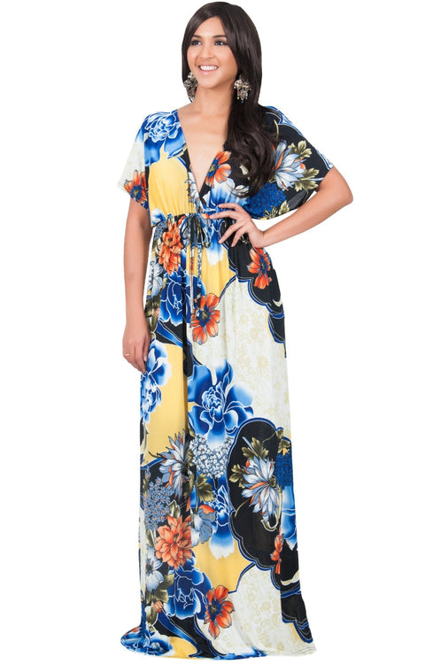 MIA - Hawaiian Luau Party Tropical Kimono Sleeve Maxi Dress - Blue Black & White / Large