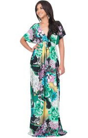 MIA - Hawaiian Luau Party Tropical Kimono Sleeve Maxi Dress - Green Black & White / Large