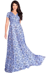 MILA - Long V-neck Damask Print Short Cap Sleeve Flowy Maxi Dress Gown - Blue Light Pink / Extra Small