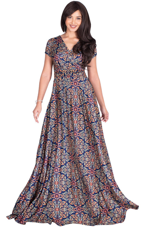 MILA - Long V-neck Damask Print Short Cap Sleeve Flowy Maxi Dress Gown - Blue & Orange / Extra Small