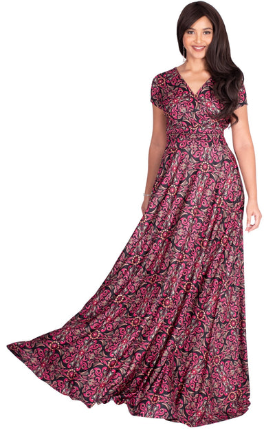 MILA - Long V-neck Damask Print Short Cap Sleeve Flowy Maxi Dress Gown - Pink & Black / Extra Small