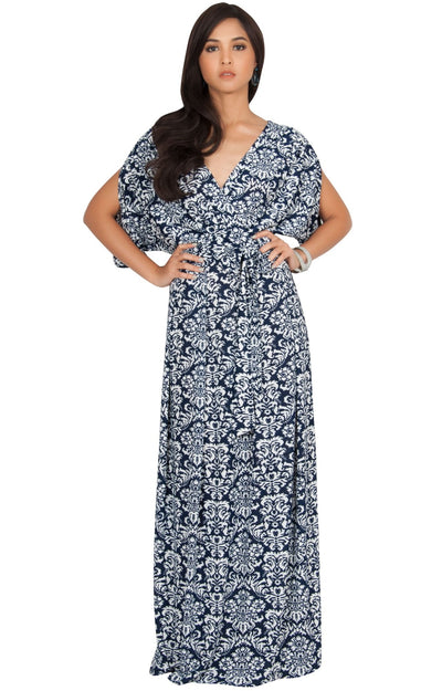MIRA - Short Batwing Split Sleeve Maxi Dress Print Boho - Navy Blue & White / 2X Large