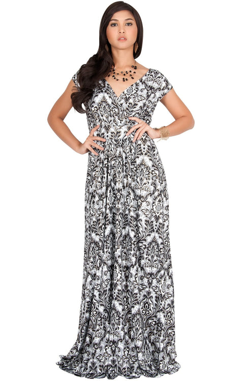 MOANA - Short Sleeve Boho Summer Formal Maxi Dress - Black & Gray & White / 2X Large