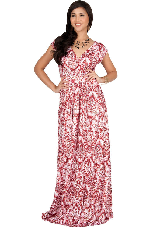 MOANA - Short Sleeve Boho Summer Formal Maxi Dress - Crimson Red & White / 2X Large