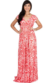 MOANA - Short Sleeve Boho Summer Formal Maxi Dress - Red & White / 2X Large