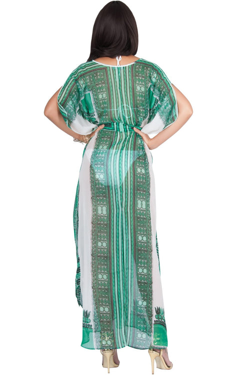 MONIQUE - Sexy Long Kaftan Short Sleeve Wrap Maxi Dress